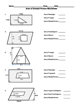 Area of Shaded Region Worksheet