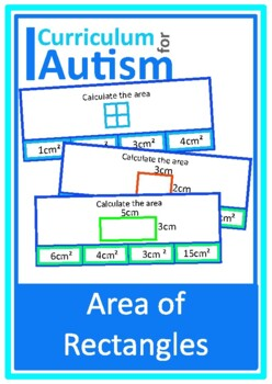 Area of Shapes Clip Cards, Autism Math, Special Education