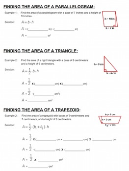Area of Shapes - Parallelograms, Triangles, and Trapezoids - Guided Notes
