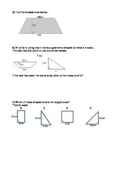 Area of Shapes Problem Solving Worksheet