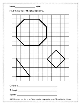Area of Shapes Using Whole and Half Units (Common Core Aligned)