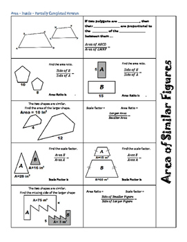 Area of Similar Figures~Foldable~Geometry~Finding the Area Ratio & Scale Factor