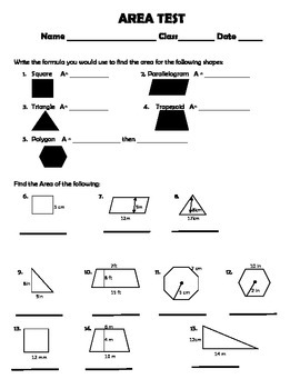 Area of Square, Parallelogram, Triangle, Trapezoid, Polygon Test 6.G.1