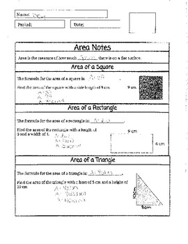 Area of Square, Triangle and Rectangle Bundle