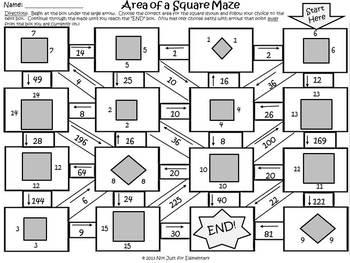 Area of Squares: Measurement Maze Activity