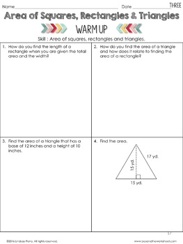 Area of Squares, Rectangles and Triangles Lesson : 6th Grade Curriculum Sample