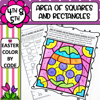 Area of Squares and Rectangles Easter Coloring Activity