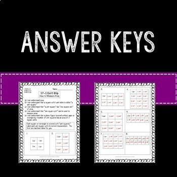 Area of Squares and Rectangles Math Exit Slips 3rd Grade Common Core