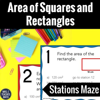 Area of Squares and Rectangles Stations Maze Activity