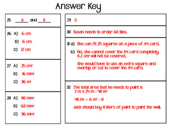 Area of Squares and Rectangles Task Cards