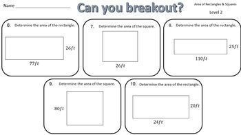 Area of Squares and Rectangles – Two Breakout Activities!