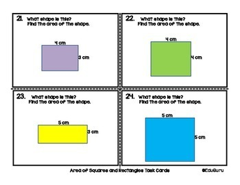 Area of Squares Rectangles and Triangles Task Card Pack