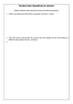 Area of Study - Discovery - Paper 1 Practice Question - Feature Article
