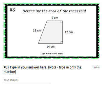 Area of Trapezoid (Google Form & Interactive Video Lesson!)