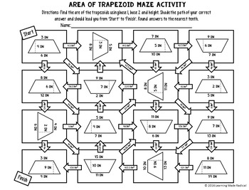 Area of Trapezoid Maze Activity