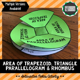 Area of Trapezoid, Triangle, Parallelogram/Rhombus Interactive Notes Activity