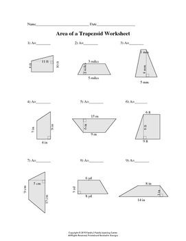 Area of Trapezoid Worksheet by Family 2 Family Learning Resources