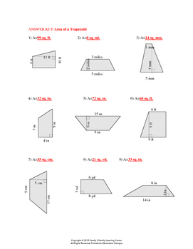 Area of Trapezoid Worksheet