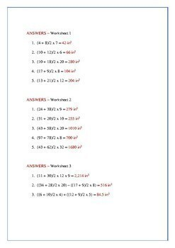 Area of a Trapezoid Worksheet – (inches) – Review - maths