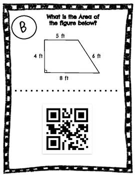 Area of Trapezoids-Around the Room-Bonus QR Codes-CCSS 6.G.A.1 & TEKs 6.8D