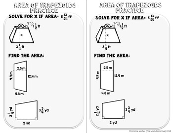 Area of Trapezoids - Decorated Notes Brochure for Interactive Notebooks