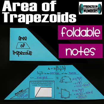 Area of Trapezoids Foldable cut-and-paste Notes Interactive Notebook