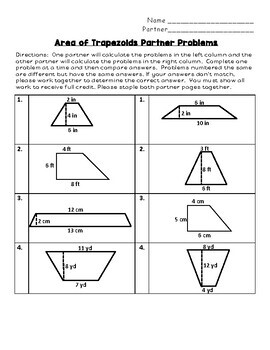Area of Trapezoids Partner Problems