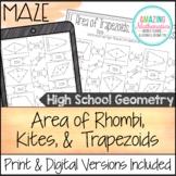 Area of Trapezoids, Rhombi, and Kites Worksheet - Maze Activity