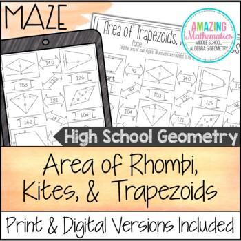 Area of Trapezoids, Rhombi, and Kites Maze