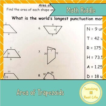 Area of Trapezoids Riddle Page