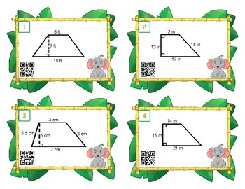 Area of Trapezoids Scoot or Task Cards
