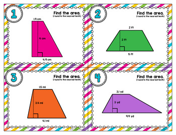 Area of Trapezoids Task Cards