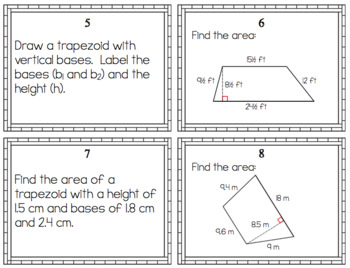 Area of Trapezoids - Task Cards