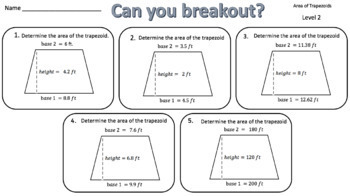 Area of Trapezoids – Two Breakout Activities!