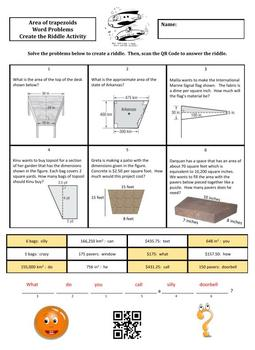 Area of Trapezoids Word Problems Create the Riddle Activity