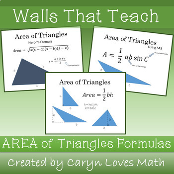 Area of Triangle Poster~Pythagorean's Theorem~Herons~SAS~Walls That Teach