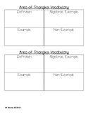 Area of Triangle Notes & Frayer model (Virginia Aligned -