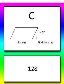 Area of Triangle, Parallelogram, Rectangle Common Core 6th grade