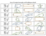 Area of Triangle, Rectangle, and Parallelogram Match