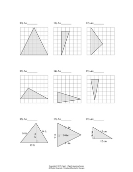 Area of Triangle Worksheet # 1