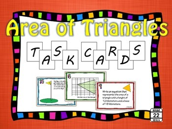 Area of Triangles Task Cards {40 Cards}