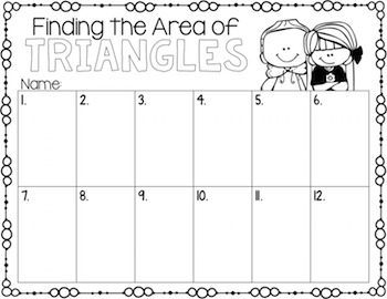 Area of Triangles Task Cards for Centers, Review, Scoot, & Test Prep