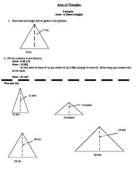 Area of Triangles Activity