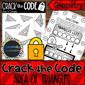 Area of Triangles Crack the Code Worksheet; Geometry, 2D Area
