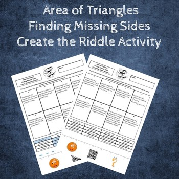 Area of Triangles Finding Missing Sides Create the Riddle Activity