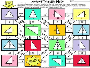 Area of Triangles: Measurement Maze Activity