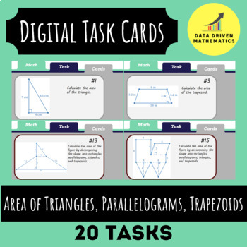 Area of Triangles, Parallelograms, Trapezoids Digital Task Cards (Google Slides)
