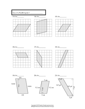 Area of Triangles, Parallelograms, Trapezoids, and Circles Worksheet