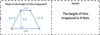 Area of Triangles, Parallelograms, and Trapezoids Quiz Cards Activity