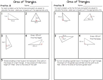 Area of Triangles - Partner Practice Worksheet (with a Reflection Page)